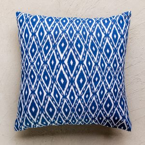 Navy and white patterned cushion