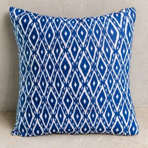 Navy and white ikat cushion