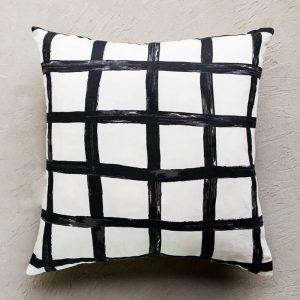 Black and white grid cushion