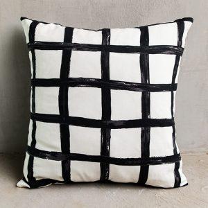 Black and white block cushion