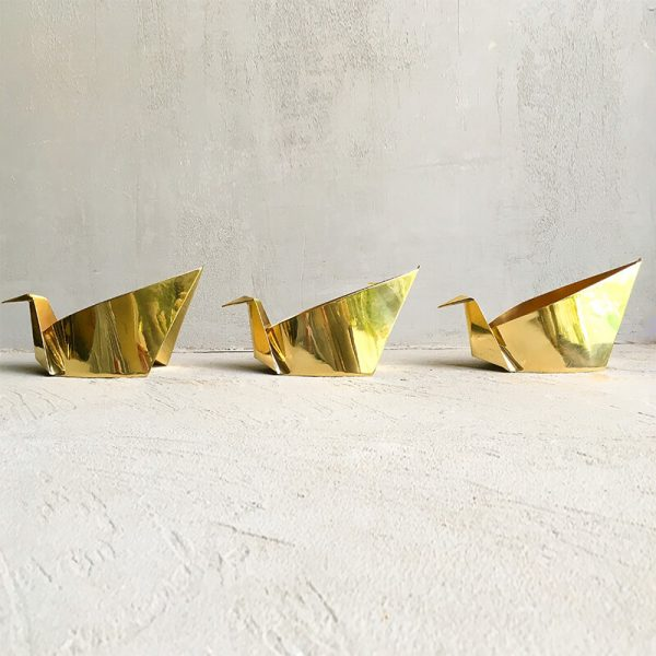 Origami brass swans, set of 3