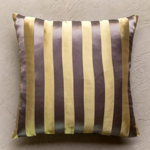Gold and grey striped cushion