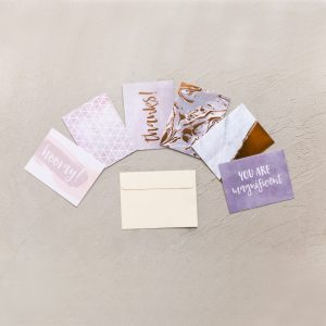 Set of 6 marbled notecards with cream envelope