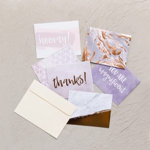 6 different marbled notecards with cream envelope