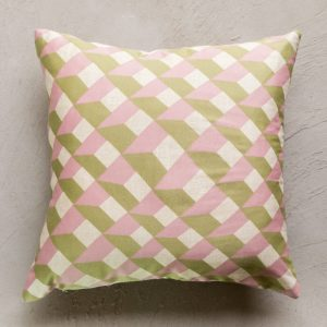 Pink and green patterned cushion