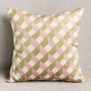 Pink and green geometric cushion