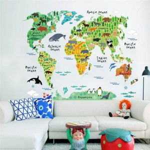 """Colorful World Map Decal sticker for children """