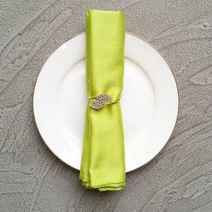 Lime green napkin with bling bling napkin ring
