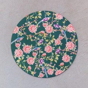 Teal chinoiserie charger