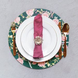 Teal chinoiserie with dull pink napkin