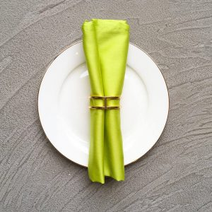 Sparse gold geometric napkin ring with lime green napkin