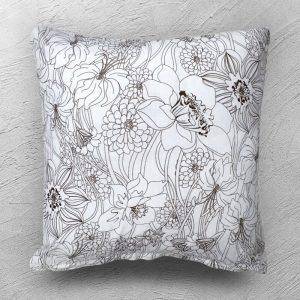 Black and white floral cushion