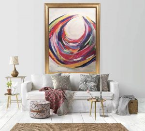 An Abstract loop canvas hanging in the living room