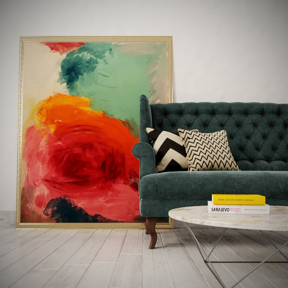 Wall Decor Vibrant Abstract Rose Canvas Without Frame