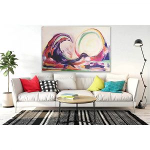 A Wave canvas without frame hanging in living room