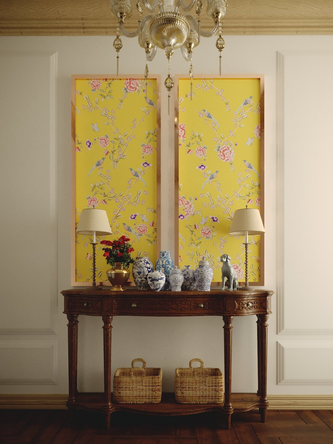 Wall Decor: Classic Yellow Chinoiserie Panel Without Frame ...
