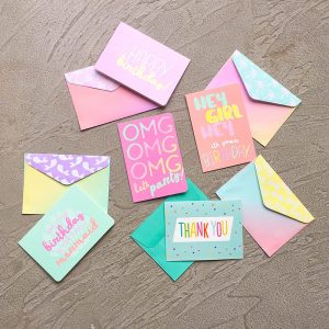 Set of 5 different doodled neon notecards