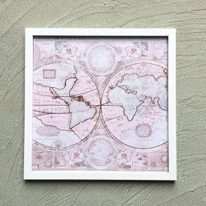 """The world map in pink with white frame """