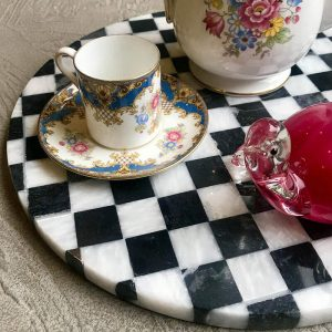 Chess marble platter with cup and saucer