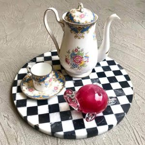 Chess marble platter with teapot and glass turtle