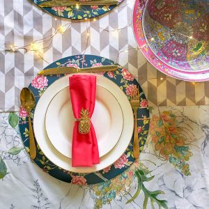 Coral dinner napkin with pineapple napkin ring