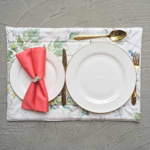 Coral napkin with bling bling napkin ring and watercolor placemat