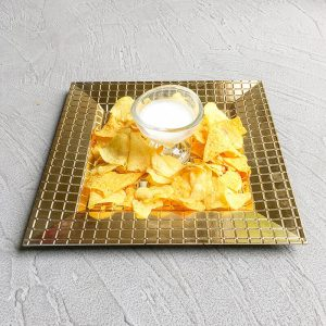 Gold Square Chip Dip Set, dip and chips