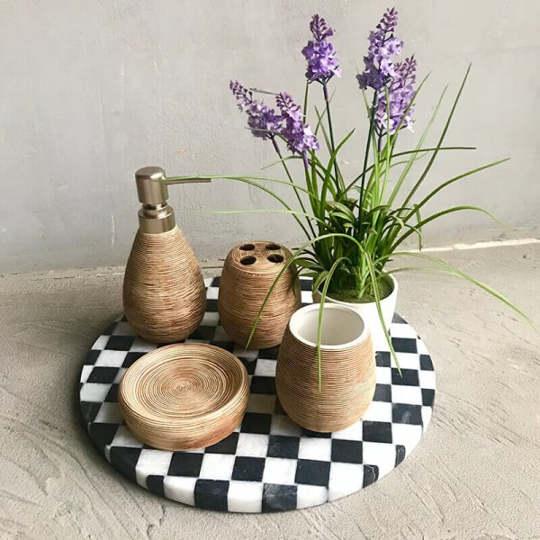 Taupe Bathroom Set of 4 with chess marble platter