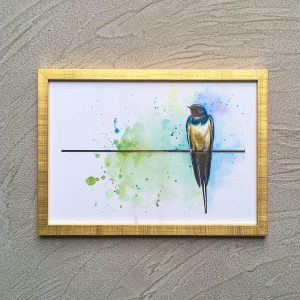 Sparrow with watercolor background and gold frame