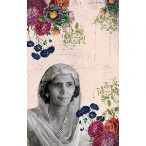 Black and White floral poster of Fatima Jinna portrait with tea pink background