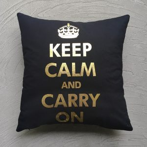 Keep Calm Carry on Cushion, black and gold with grey background