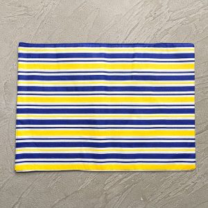 Blue and Yellow Stripes placemats with grey background
