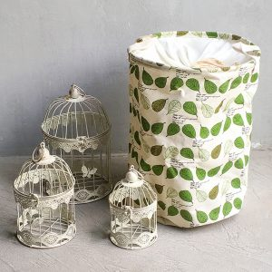 Leafy Laundry Basket with Birdcages