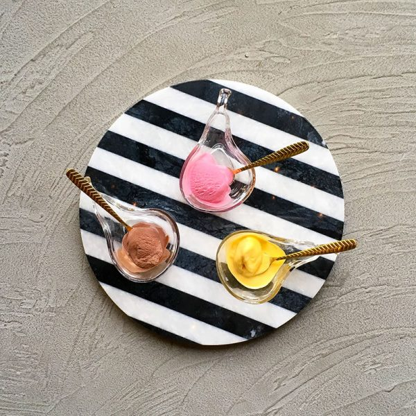 Black and White Striped Marble Platter