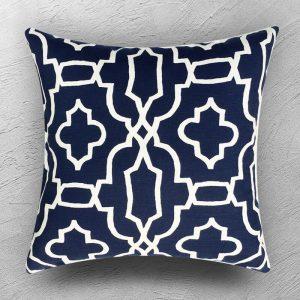 Navy and White Geometric Cushion