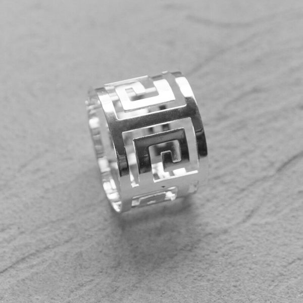 Silver Geometric Napkin Ring