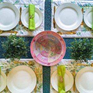 Teal Velvet Tablecloth