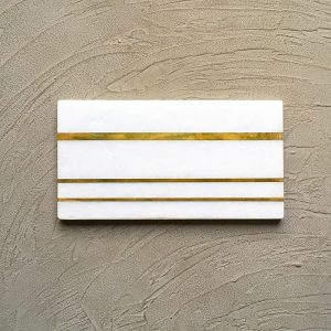 White Marble Platter with Brass Inlay