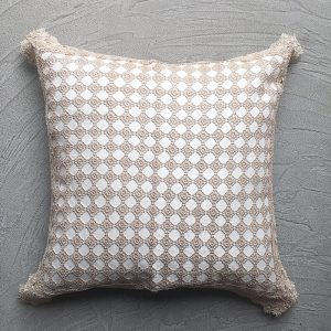 Cream Lace Cushion with grey background