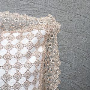 Close-up of Cream Lace Cushion