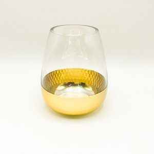 Gold Dipped Glass Geometric Container