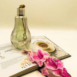 Table decor of LED Bulb with a book