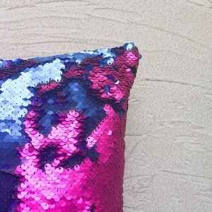 close-up of Mermaid Sequins Pink and Blue Cushion