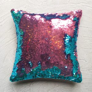 Solo shot of Mermaid Sequins Sea green and Pink cushion