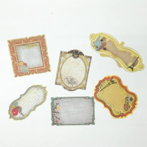 Aerial shot of 6 assorted vintage Paris notecards