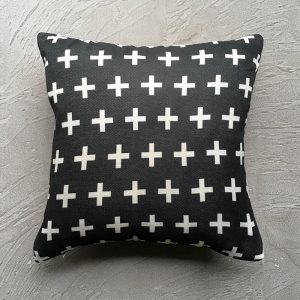 Aerial shot of black cross cushion