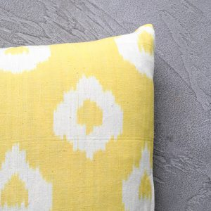 Close-up of Lemon Yellow Ikat Cushion